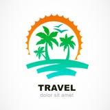 Διανυσματικό πρότυπο σχεδίου λογότυπων Αφηρημένοι ήλιος και φοίνικας στο seasi διανυσματική απεικόνιση