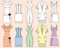 Διανυσματικά φορέματα γυναικών που απομονώνονται για το σχέδιο Στοκ εικόνα με δικαίωμα ελεύθερης χρήσης