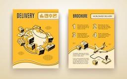 Διανυσματικό πρότυπο φυλλάδιων για παγκοσμίως να στείλει, παράδοση απεικόνιση αποθεμάτων