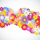 Διανυσματικό πρότυπο φυλλάδιων υποβάθρου λουλουδιών απεικόνιση αποθεμάτων
