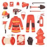 Διανυσματικό πυροσβεστικό σύνολο απεικόνισης στομίων υδροληψίας και πυροσβεστήρων εξοπλισμού πυροσβεστών firehose πυροσβέστη ομοι απεικόνιση αποθεμάτων