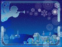 Διανυσματικό πλαίσιο με έναν άγγελο και snowflakes Διανυσματική απεικόνιση