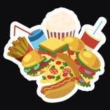 Διανυσματικό πλαίσιο με το γρήγορο φαγητό Τυποποιημένα τρόφιμα οδών με το διάστημα για το κείμενο Κατάλογος επιλογής για τον καφέ Στοκ Φωτογραφίες