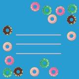 Διανυσματικό πλαίσιο των donuts στο μπλε υπόβαθρο Επίπεδο ύφος της σοκολάτας, της μέντας, της φράουλας και της βανίλιας που βερνι Στοκ φωτογραφίες με δικαίωμα ελεύθερης χρήσης