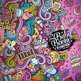 Διανυσματικό πλαίσιο baby boom doodles κινούμενων σχεδίων Στοκ εικόνες με δικαίωμα ελεύθερης χρήσης