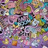 Διανυσματικό πλαίσιο baby boom doodles κινούμενων σχεδίων Στοκ Φωτογραφίες