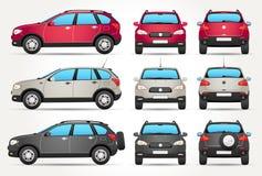 Διανυσματικό πλαϊνό αυτοκίνητο - πλευρά - μέτωπο - πίσω άποψη διανυσματική απεικόνιση