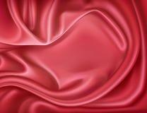 Διανυσματικό ρεαλιστικό κόκκινο μετάξι πολυτέλειας, κλωστοϋφαντουργικό προϊόν σατέν Στοκ φωτογραφία με δικαίωμα ελεύθερης χρήσης