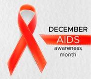 Διανυσματικό ρεαλιστικό κόκκινο σημάδι riibon της ημέρας συνειδητοποίησης ενισχύσεων και HIV και του μήνα Δεκεμβρίου σχέδιο για τ Στοκ Εικόνα