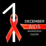 Διανυσματικό ρεαλιστικό κόκκινο σημάδι riibon της ημέρας συνειδητοποίησης ενισχύσεων και HIV και του μήνα Δεκεμβρίου σχέδιο για τ Στοκ φωτογραφία με δικαίωμα ελεύθερης χρήσης