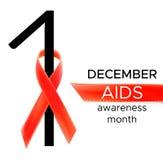 Διανυσματικό ρεαλιστικό κόκκινο σημάδι riibon της ημέρας συνειδητοποίησης ενισχύσεων και HIV και του μήνα Δεκεμβρίου σχέδιο για τ Στοκ Φωτογραφία