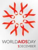 Διανυσματικό ρεαλιστικό κόκκινο σημάδι riibon της ημέρας συνειδητοποίησης ενισχύσεων και HIV και του μήνα Δεκεμβρίου σχέδιο για τ Στοκ φωτογραφίες με δικαίωμα ελεύθερης χρήσης