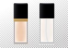 Διανυσματικό ρεαλιστικό μπουκάλι για τα καλλυντικά προϊόντα, άρωμα, νερό τουαλετών, ίδρυμα Διαφανές ματ μπουκάλι με το Μαύρο διανυσματική απεικόνιση