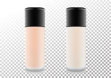 Διανυσματικό ρεαλιστικό μπουκάλι για τα καλλυντικά προϊόντα, κρέμα, ίδρυμα Διαφανές ματ μπουκάλι με ένα μαύρο καπάκι Απομονωμένο  ελεύθερη απεικόνιση δικαιώματος