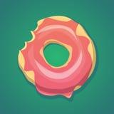 Διανυσματικό ρεαλιστικό δαγκωμένο doughnut στο πράσινο υπόβαθρο κλίσης Στοκ φωτογραφία με δικαίωμα ελεύθερης χρήσης