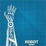Διανυσματικό ρομποτικό σύμβολο βραχιόνων στο υπόβαθρο εγγράφου σχεδιαγραμμάτων Χέρι και πεταλούδα ρομπότ Σχέδιο ανασκόπησης τεχνο διανυσματική απεικόνιση