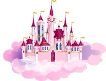 Διανυσματικό ρόδινο μαγικό κάστρο πριγκηπισσών απεικόνιση αποθεμάτων