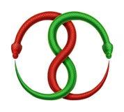 Διανυσματικό σημάδι Ouroboros Δύο συνδυασμένα φίδια τρώνε τις ουρές τους απεικόνιση αποθεμάτων