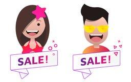 Διανυσματικό σημάδι εμβλημάτων κορδελλών πώλησης με το αρσενικό και θηλυκό σύνολο ειδώλων Ελεύθερη απεικόνιση δικαιώματος