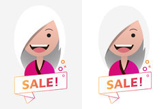 Διανυσματικό σημάδι εμβλημάτων κορδελλών πώλησης με το θηλυκό είδωλο Έμβλημα, λογότυπο Διανυσματική απεικόνιση