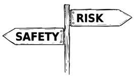 Διανυσματικό σημάδι κατεύθυνσης κινούμενων σχεδίων με την ασφάλεια δύο βελών απόφασης Στοκ εικόνα με δικαίωμα ελεύθερης χρήσης