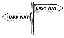 Διανυσματικό σημάδι κατεύθυνσης κινούμενων σχεδίων με δύο βέλη απόφασης σκληρά και Στοκ εικόνες με δικαίωμα ελεύθερης χρήσης