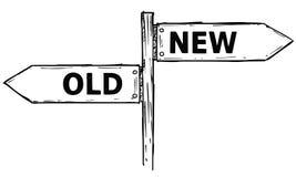 Διανυσματικό σημάδι κατεύθυνσης κινούμενων σχεδίων με δύο βέλη απόφασης παλαιά και το Ν Στοκ Εικόνα
