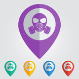 Διανυσματικό σημάδι μασκών biohazard στην καρφίτσα Στοκ Εικόνα