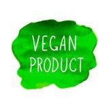 Διανυσματικό σημείο Watercolor με την εγγραφή προϊόντων Vegan, συρμένες χέρι επιστολές, απεικόνιση που απομονώνεται στο άσπρο υπό διανυσματική απεικόνιση