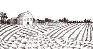Διανυσματικό σκίτσο αγροτικών τομέων, ύφος χάραξης, πρότυπο υποβάθρου διανυσματική απεικόνιση