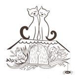 Διανυσματικό σκίτσο με τις γάτες ερωτευμένες Στοκ εικόνες με δικαίωμα ελεύθερης χρήσης