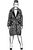 Διανυσματικό σκίτσο μιας όμορφης γυναίκας σε ένα παλτό και τα παπούτσια Στοκ Εικόνες