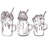 Διανυσματικό σκίτσο των milkshakes Στοκ Εικόνες