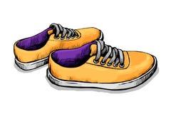 Διανυσματικό σκίτσο χρώματος των πάνινων παπουτσιών Στοκ εικόνα με δικαίωμα ελεύθερης χρήσης