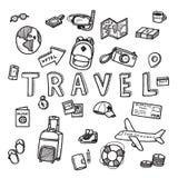 Διανυσματικό σκίτσο doodle του ταξιδιού και της έννοιας τουριστών στο άσπρο υπόβαθρο Στοκ Εικόνα