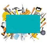Διανυσματικό σκουριασμένο πλαίσιο με τα όργανα Στοκ εικόνες με δικαίωμα ελεύθερης χρήσης
