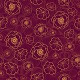 Διανυσματικό σκούρο κόκκινο άνευ ραφής σχέδιο με τα λουλούδια πτώσης Υπόβαθρο για τις καλύψεις υφάσματος ή βιβλίων, κατασκευή, τα Στοκ φωτογραφίες με δικαίωμα ελεύθερης χρήσης