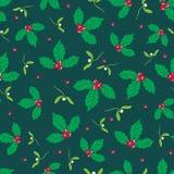 Διανυσματικό σκούρο πράσινο, κόκκινο μούρο ελαιόπρινου και άνευ ραφής υπόβαθρο σχεδίων διακοπών γκι Μεγάλος για το χειμώνα η συσκ Στοκ Φωτογραφίες