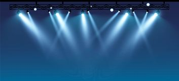 Διανυσματικό στάδιο με το σύνολο μπλε επικέντρων Μπλε σκηνικά φω'τα ελεύθερη απεικόνιση δικαιώματος