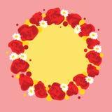 Διανυσματικό στεφάνι με τα λουλούδια Στοκ Φωτογραφίες