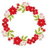 Διανυσματικό στεφάνι Χριστουγέννων με Poinsettia και τα κόκκινα μούρα διανυσματική απεικόνιση