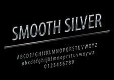 Διανυσματικό στιλπνό ασήμι σημαδιών ομαλό Κομψές ασημένιες επιστολές, αριθμοί και σύμβολα αλφάβητου απεικόνιση αποθεμάτων