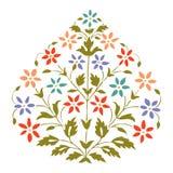 Διανυσματικό συμμετρικό ανθίζοντας φυτό έγχρωμης εικονογράφησης με τα λουλούδια και το φύλλο Στοκ Φωτογραφία