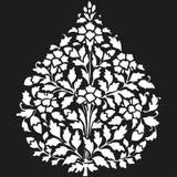 Διανυσματικό συμμετρικό ανθίζοντας φυτό απεικόνισης με τα λουλούδια και το φύλλο Στοκ Φωτογραφίες