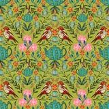 Διανυσματικό συμμετρικό floral άνευ ραφής σχέδιο με τα λαϊκά μοτίβα τέχνης ελεύθερη απεικόνιση δικαιώματος
