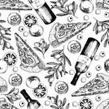 Διανυσματικό συρμένο χέρι άνευ ραφής σχέδιο της πίτσας, του κρασιού, των ελιών και της ντομάτας μαγειρεύοντας συστατικά ιταλικά τ Στοκ Εικόνες