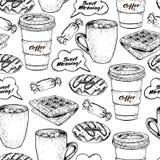 Διανυσματικό συρμένο χέρι άνευ ραφής σχέδιο του coffe, doughnut, waffel και της καραμέλας Γλυκό συρμένο χέρι σύνολο προγευμάτων γ Στοκ Εικόνες