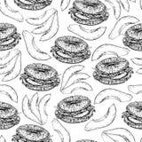 Διανυσματικό συρμένο χέρι άνευ ραφής σχέδιο bagels και της φέτας αβοκάντο Συρμένο χέρι σύνολο γρήγορου φαγητού Τρύγος που χαράσσε Στοκ Φωτογραφίες