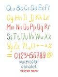 Διανυσματικό συρμένο χέρι αλφάβητο Watercolor Στοκ Εικόνα