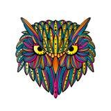 Διανυσματικό συρμένο χέρι πρόσωπο κουκουβαγιών Τέχνη Zentangle Εθνική διαμορφωμένη απεικόνιση για το αντιαγχωτικό χρωματίζοντας β διανυσματική απεικόνιση